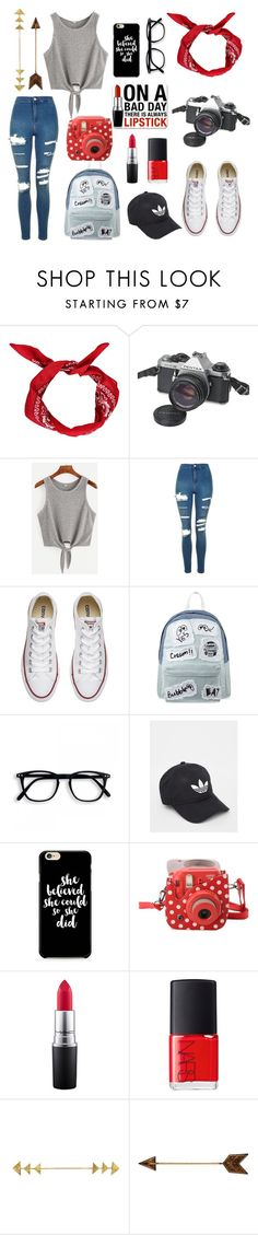 """Great escape of fashion"" by eserurm-i ❤ liked on Polyvore featuring Boohoo, Pentax, Topshop, Converse, Mini Cream, adidas, Fujifilm, MAC Cosmetics and NARS Cosmetics"