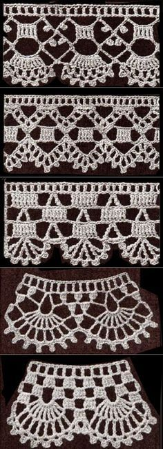 If you looking for a great border for either your crochet or knitting project, check this interesting pattern out. When you see the tutorial you will see that you will use both the knitting needle and crochet hook to work on the the wavy border. Crochet Edging Patterns, Crochet Lace Edging, Crochet Borders, Crochet Designs, Crochet Doilies, Crochet Simple, Crochet Diy, Love Crochet, Tutorial Crochet