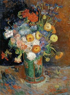 Vincent van Gogh, Bowl with Zinnias and Geraniums, Summer Paris/ Oil on canvas, 61 x 46 cm/ National Gallery of Canada, Ottawa Vincent Van Gogh, Artist Van Gogh, Van Gogh Art, Art Van, Flores Van Gogh, Desenhos Van Gogh, Van Gogh Flowers, Van Gogh Still Life, Van Gogh Pinturas