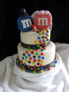 The couple's name started with m's so they asked for a simple m&m cake.  It is chocolate cake with chocolate ganache.