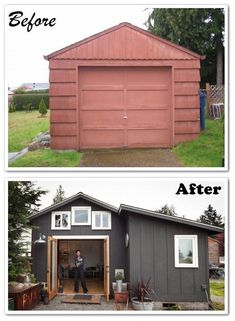 Natalia Repolovsk transformed this 250 sq ft garage into a fully functioning stunning little house.   #DIY Tiny Homes