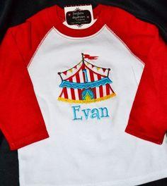 #children's #red #white #circus #tent #applique #embroidery #tee www.bluebirdandhoney.com