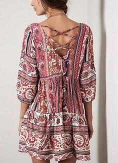 Beachy Coral Hippie Cotton Blouse Tunic ==