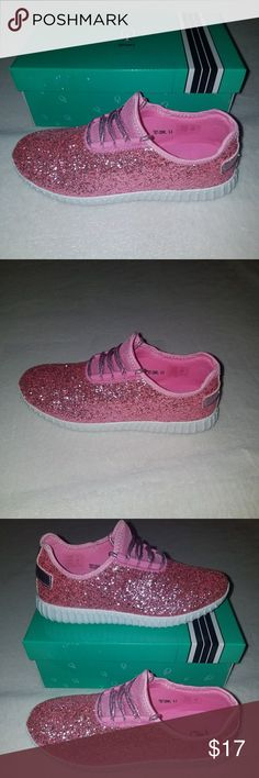 New Glitter Sneakers - Pink New, pink, lace-up, glitter sneakers. Comfortable and lightweight. Glitter doesn't flake. Size 8.5 Retail  $40 Shoes Sneakers