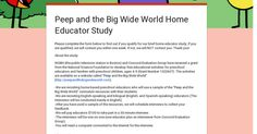 PEEP and the Big Wide World is offering a $100 stipend to family childcare providers willing to be surveyed about their use of the curriculum on PEEP's website.