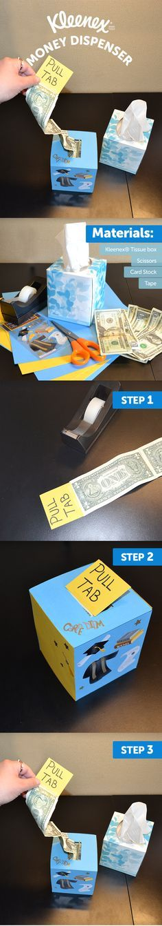 Your graduate will love the care that this Kleenex® tissue box has inside. Here's how to create your own Kleenex® money dispenser.