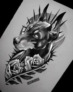 Dark Art Tattoo, Animal Tattoos, Tattoos, Doberman Tattoo, Chicano Art Tattoos, Neo Traditional Tattoo, Tattoo Sketches, Arm Tattoos For Guys, Tattoo Designs