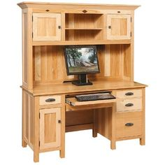 Amish Classic Mission Computer Desk (123.955 RUB) ❤ Liked On Polyvore  Featuring Home,