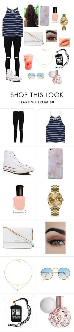 """Spring🌼"" by amarianamichelle ❤ liked on Polyvore featuring Boohoo, Victoria's Secret, Converse, Deborah Lippmann, Rolex, Michael Kors and Spring2017"