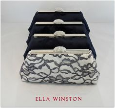 Navy Blue Ivory And Platinum Grey Bridesmaid Gift by EllaWinston, $212.40