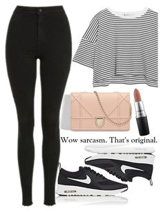 """Untitled #1872"" by mihai-theodora ❤ liked on Polyvore featuring Topshop, T By Alexander Wang, MAC Cosmetics and NIKE"