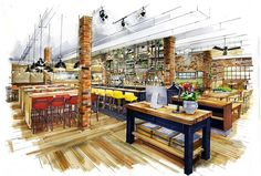 CGI of Whitbread's brand new restaurant, Beefeater Bar + Block opening in Birmingham city centre this March. The 3,005 sq ft, 173 cover site will feature a central bar with copper detailing and a large open kitchen. Key design elements include a branded mosaic threshold, butcher's block host desk, booth-style leather seating and exposed brick walls which showcase a number of contemporary artwork pieces including a vibrant neon cow and wall calligraphy telling the Bar + Block brand story.