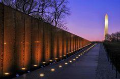 Vietnam Memorial at sunset