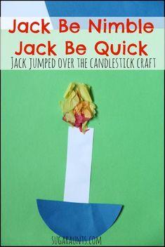 Jack Be Nimble Jack Be Quick nursery rhyme craft for Toddlers/Preschoolers. Works on fine motor/scissor skills, too. Rhyming Preschool, Rhyming Activities, Preschool Lessons, Toddler Preschool, Toddler Crafts, Preschool Activities, Toddler Art, Phonics, Nursery Rhyme Crafts