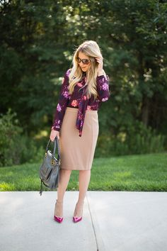 Scarf Tie Blouse & Camel Pencil Skirt work outfit...click through for outfit details!