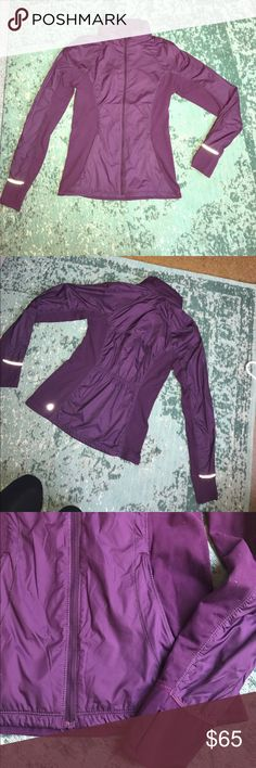 LululemonAthena jacket. New Without Tags. Never been worn lulu lemon Athena zip up jacket in purple. This jacket has thumb holes and can make into a mitten, you can also unzip the collar and turn into a hood. Pockets in front and gathers on the back for a cute look. Water resistant on most of the jacket. Body: 100% polyester contrast: 91% nylon, 9% Lycra. Liner: 91% nylon, 9% elastane. lululemon athletica Jackets & Coats