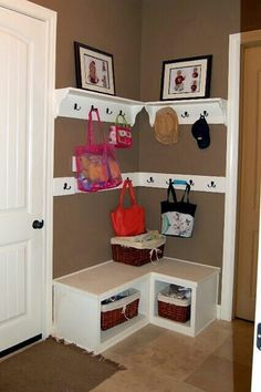 Similar-space for shoes, hats clothes etc also somewhere to sit to do it all :)