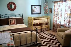 guest bed, crib, color, shared rooms, twin beds, nurseri, guest rooms, bedroom, babies rooms