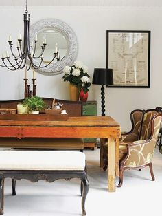 This table may not be my favorite but I like the way they put all these different styles and finishes together