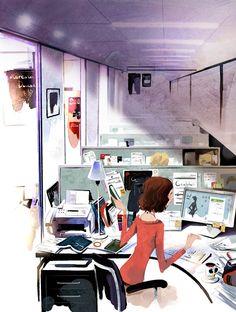Chica trabajando Working girl