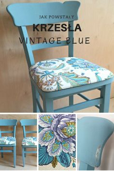 Restoration of old chairs with vintage blue chalkpaint and fabric with floral motif.