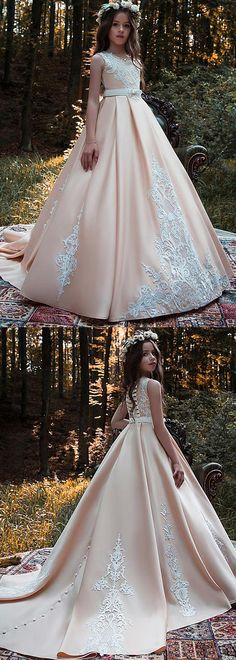 Stunning Satin Scoop Neckline Floor-length Ball Gown Flower Girl Dresses With Lace Appliques & Beadings & Belt