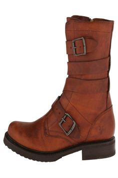 """A stunning boot that is sure to shine bright from morning til night with western appeal. Washed oiled vintage leather upper with wrap-around buckle details. Side zipper for easy on and off. Soft leather lining for a more comfortable fit and feel. Cushioned leather footbed provides all-day comfort. Rubber lug outsole for long-lasting wear.    Heel height: 1.25""""; 27 oz; 9"""" shaft; 0.5"""" platform   Veronica Tanker Boot by Frye. Shoes - Boots New York"""