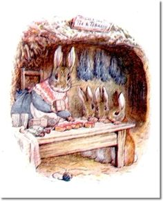 The Tale of Benjamin Bunny - 1904 - Old Mrs. Rabbit with Flopsy Mopsy and Cottontail