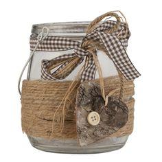 Skleněný svícen se srdíčkem Jar Crafts, Wicker Baskets, Provence, Burlap, Reusable Tote Bags, Retro, Jars, Christmas, Candles