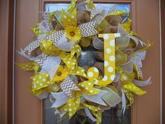 Yellow Polka Dot Deco Mesh Summer Spring Wreath by DecoDzigns with polka dot letter.