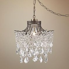 """Mini chandelier for guest room - Brielle Antique Brass 12"""" Wide Crystal Plug-In Swag Pendant"""