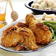 Take your oven baked chicken to the next level, with Fisher Pecans and the subtle sweetness of a honey glaze.  Yield: 8 servings Prep Time: 20 minutes Cook Time: 45 minutes