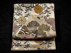 Glamorous Japanese Book, Yukiwa, Yanagi, & Sakura Pattern Vintage Maru Obi