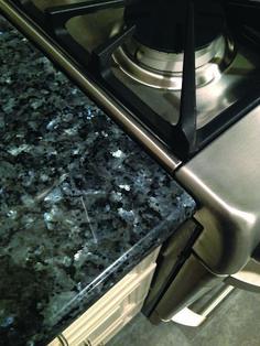Blue pearl granite, antique white cabinets and stainless appliances Granite Slab, Granite Kitchen, Granite Countertops, Kitchen Backsplash, Kitchen Redo, Kitchen And Bath, New Kitchen, Kitchen Remodel, Kitchen Ideas