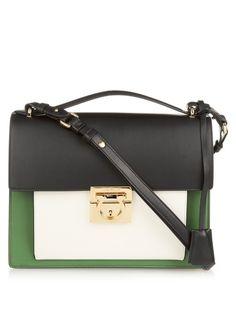 Salvatore Ferragamo Marisol contrasting leather shoulder bag. This  new-season design comes in a ae8b535bf4