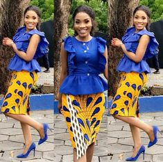 Simple and comfortable short skirt and blouse native outfit African Inspired Fashion, African Print Fashion, Africa Fashion, African Print Dresses, African Fashion Dresses, African Dress, African Attire, African Wear, African Women