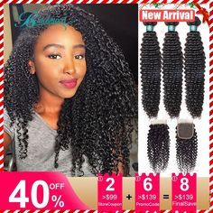kinky curly bundles with closure 3 bundles with closure brazillian remy human hair bundles with closure 22 24 26 inch tissage  Price: 84.99 & FREE Shipping  #fashion #sport #tech #lifestyle Wedding Hair Colors, Off Black, Remy Human Hair, Hair Products, Kinky, Wedding Hairstyles, Curly, Tech, Closure