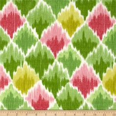 Waverly Baroque Bargello Slub Spring from @fabricdotcom  Screen printed on cotton slub duck (has the appearance of linen) this medium weight fabric is very versatile. This fabric is perfect for window treatments (draperies, curtains, valances, and swags), bed skirts, duvet covers, pillow shams, accent pillows, tote bags, aprons, slipcovers and upholstery. Colors include shades of pink, green and white.