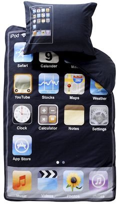 Oh we all love our iPhone and iPod Touch, but how about sleeping in one? Well, there is a bed for it :-). Take a look at the iPhone/iPod Touch bed below with comforters and pillows included. Ipod Touch, Objet Wtf, Weird Beds, Creative Beds, Creative Decor, Application Iphone, Settings App, Kids Up, Big Kids