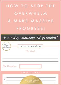 Female Entrepreneur Association 30-Day Challenge - How to stop the overwhelm and make massive progress!