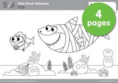 "pinkfong and baby shark coloring sheet printable Theme "" paper "" in 2019 Baby shark Shark"