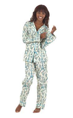 Blue/Cream Eiffel Cotton Pique Classic Pajama
