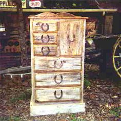 Barn Wood Dresser with horseshoe pulls.