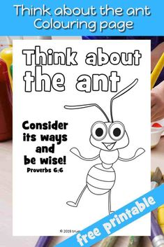 Think about the Ant - Proverbs coloring page for kids. Preschool Bible Verses, Verses For Kids, Bible Lessons For Kids, Bible Activities, Bible For Kids, Bible Crafts, Bible Games, Piano Lessons, Scripture Verses