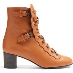 Orson lace-up ankle boots Chloé MATCHESFASHION.COM ($1,190) via Polyvore featuring shoes, boots, ankle booties, laced booties, ankle bootie boots, lace up ankle bootie, laced boots and lace up boots