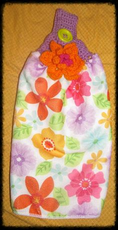 Flower Power Dish or Bathroom Towel with by NStitchesCrochet, $8.00