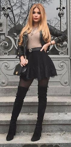 fall inspiration_nude top + leather jacket + skirt + bag + over the knee boots