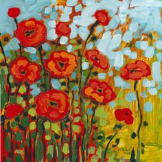 poppies- I'd like to paint like this. nice for the background of my mother and daughter painting