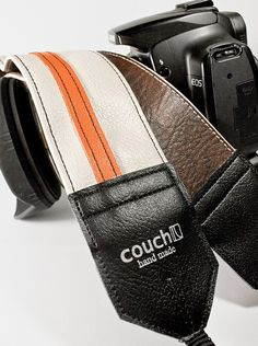 The Couch White and Orange Racer X Camera Strap