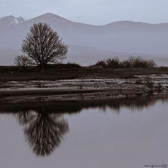 Winter reflections. Las Rozas de Valdearroyo, Cantabria, Spain.